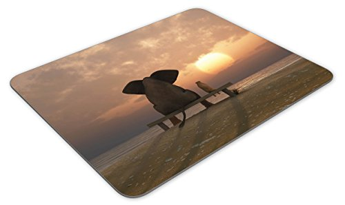 4122Zt0pl4L - Elephant and dog sit on a summer beach Mouse pad mouse pad mouse pad mice pad mouse pad the office mat mouse pad Mousepad Nonslip Rubber Backing