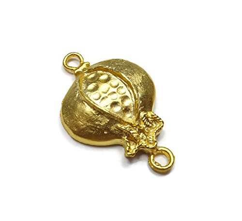 Foxy Findings Naturals Collection Matte Finish 24k Gold Plated Brass Split Pomegranate Connector Charm 33mm Set of 1 CNG020-e