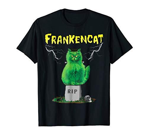 FRANKENCAT Halloween Spooky Cute Cat Lover Funny T-Shirt