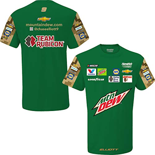- SMI Properties Chase Elliott 2019 MTN Dew Sublimated Pit Crew NASCAR T-Shirt (X-Large) Green