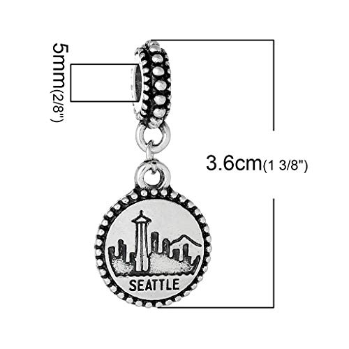 (Seattle Charm Bead Spacer for Snake Chain Charm Bracelets 2681 Jewelry Making Supply Pendant Bracelet DIY Crafting by Easy to be happy!)