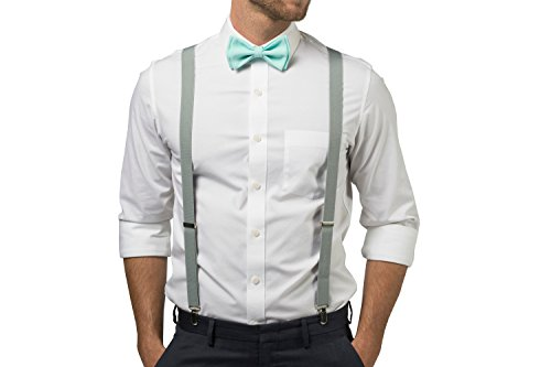 d23ae07dbc68 Light Grey Suspenders Bow Tie Set for Baby Toddler Boy Teen Men (1. Baby