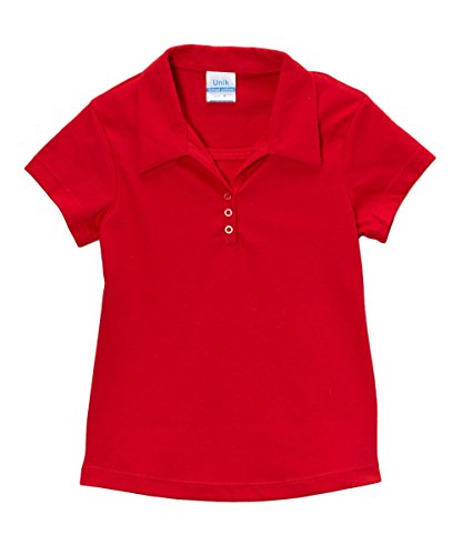 unik Girl's Uniform Triple Button Collar Shirt Short Sleeve, Red Size - Blouse Childrens