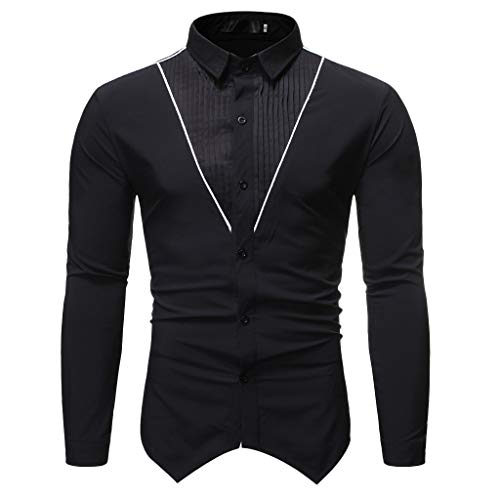 SNOWSONG Mens Long Sleeve Dress Shirts Casual Slim Fit Pleated Front Button up T-Shirts Tops
