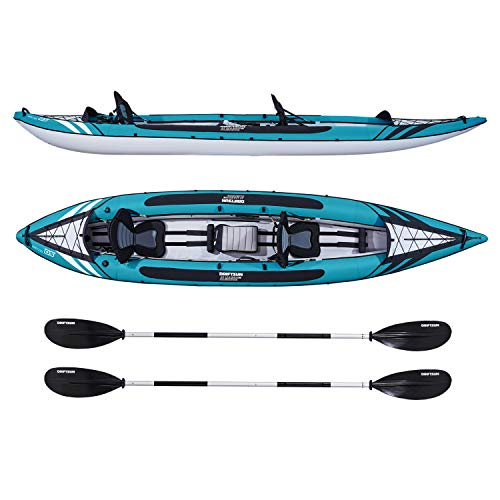 Driftsun Almanor 146 Two Adult Plus one Child Recreational Touring Inflatable Kayak with EVA Padded Seats, Includes Paddles, Pump, Child -