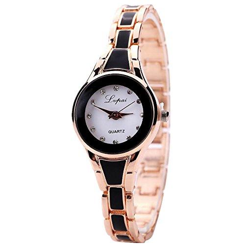 Lvpai Women's Two Tone Diamond Point Display Black Bracelet Wrist Watch Waterproof P036-3