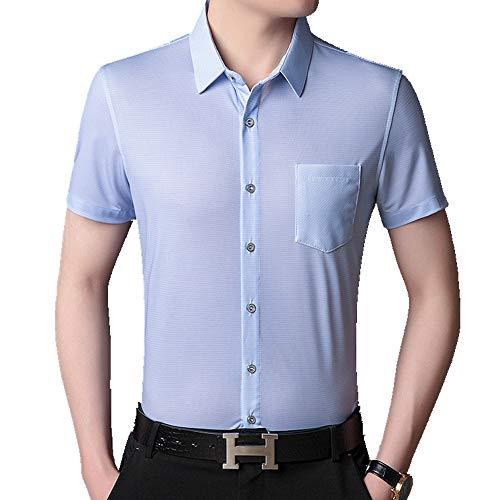 Camisa de verano de manga corta para hombre de seda suelta