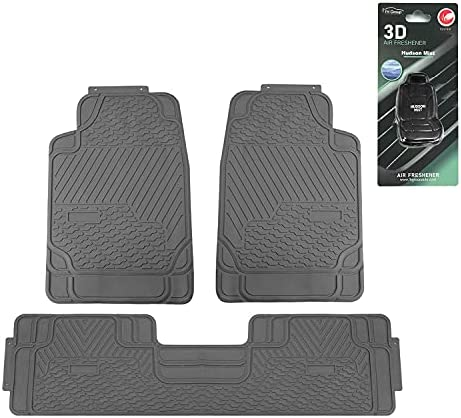 FH Group 3 Piece Heavy Duty Rubber All Weather Floor Mats with Gift (Gray)– Universal Fit for Cars Trucks and SUVs