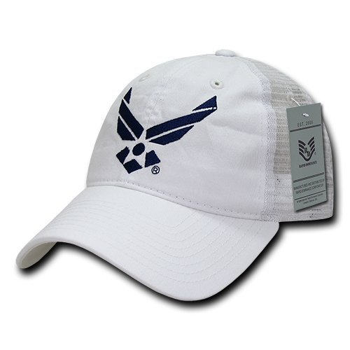 Rapiddominance Air Force Relaxed Trucker Caps, White