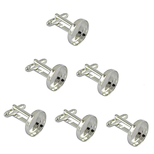 6pcs Antiqued Silver 16mm Round Blank Settings Cuff Links Settings Base