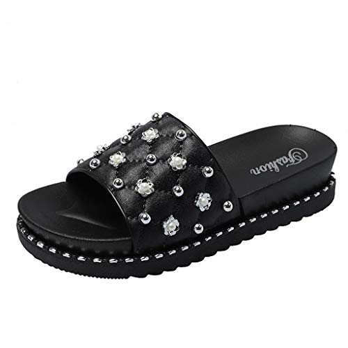 MmNote Shoes, Women's Stylish Trendy Comfortable Summer Rivets Casual Beach Slippers Sandals Shoes Black