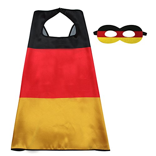 iROLEWIN Kids Flag Cape Costume With Felt Mask -Satin Cape For Boys Sports Events Games Dress Up Party Decoration (Germany)