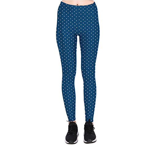 Femme Dark Blue Collants Leggings Avec Blanc Polka Dot M