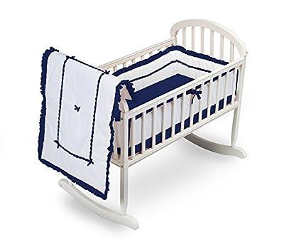 Baby Doll Bedding Unique Cradle Bedding Set, Navy