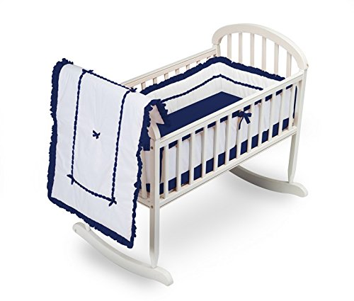 Baby Doll Bedding Unique Cradle Bedding Set, Navy 1230CR36