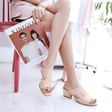 LvYuan Mujer-Tacón Robusto-Innovador Zapatos del club-Sandalias-Vestido Informal Fiesta y Noche-Materiales Personalizados Semicuero-Azul Rosa White
