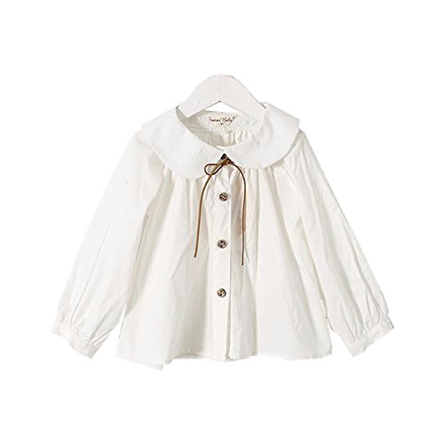 YOBEBE Kids Girl White Blouse Peter pan Collar Long Sleeves Shirt School Clothes 3-7T Top (120-6T) (Girls Peter Pan Collar Blouse)