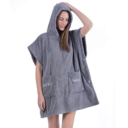 Women's Terry Cotton Short Bathrobe with Hood, Above Knee Length, Gray one Size