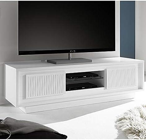 Kasalinea - Mueble para televisor (Lacado Mate), diseño de Rayas, Color Blanco: Amazon.es: Hogar