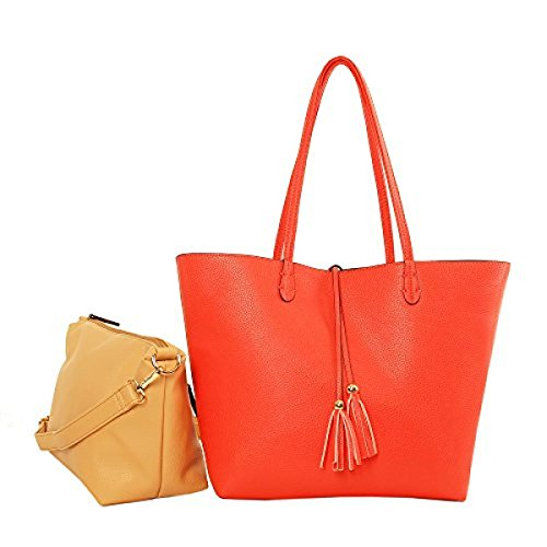 Imoshion Women's Reversibile Bag-In-A-Bag Tote Bag with Removable zip pouch Coral Sand -