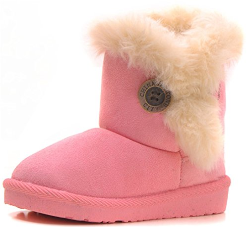 DADAWEN Baby's Girl's Boy's Cute Flat Shoes Bailey Button Winter Warm Snow Boots Pink US Size 13.5 M Little - Boots Snow Winter Pink