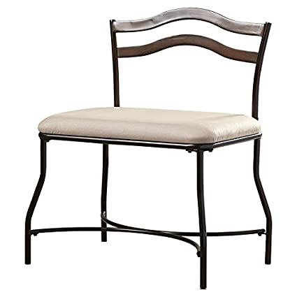 Amazon.com: Vanity Stool Frame is Made of Metal Upholstery Material ...