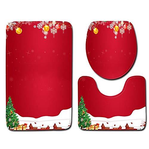 Mackur 3 Piezas Santa Asiento de Inodoro y Conjunto de Alfombra Juegos Juego de Funda de tocador de Santa Claus Decoraci/ón Navide/ña Accesorios de ba/ño