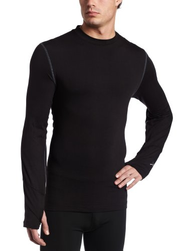 - Terramar Men's Thermolator Climasense 4-Way Stretch Brushed Crew Neck Top, Black/Pewter, Small (34