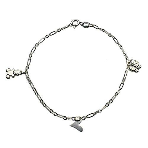 Sterling Silver Heart, Butterfly, Teddy Bear Charm Bracelet Italy, 7.5