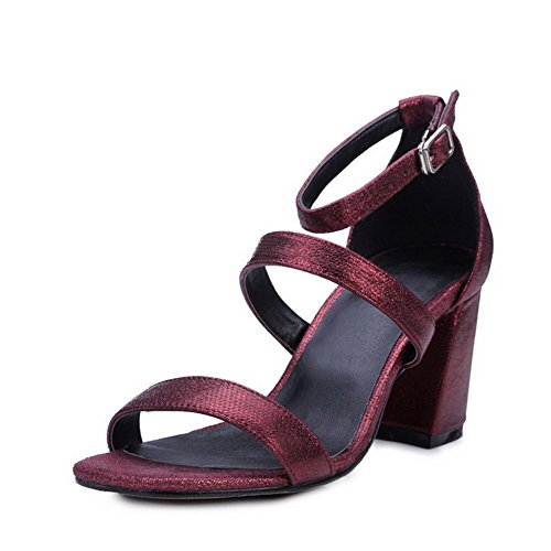 Solid Heels Sheepskin Toe High Womens Buckle AmoonyFashion Open Claret Sandals q5AIE