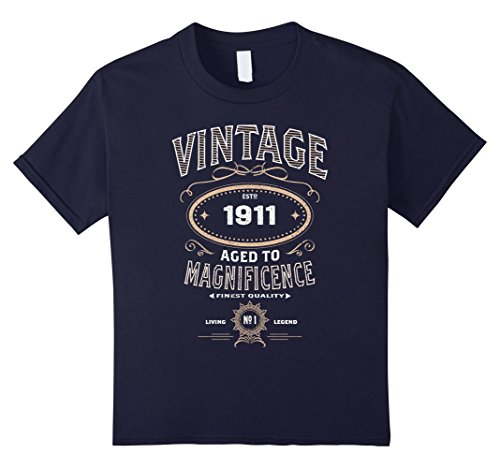 Kids Vintage Aged To Magnificence 1911 106th Birthday Gift Tshirt 12 Navy
