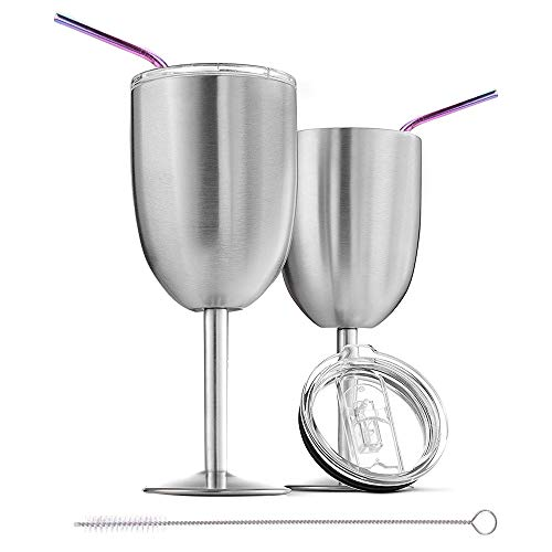Stainless Steel Wine Glasses for Father's Day Gift,Set of 2 Double Wall Vacuum Insulated Wine Glass,10 OZ Unbreakable Metal Goblets,Wine Tumbler Cup With Lid and Straw,Stemmed Wine Glass(Silver)