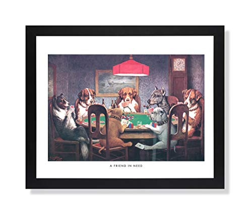 Dogs Playing Poker at Table Animal Picture Black Framed Art Print #1