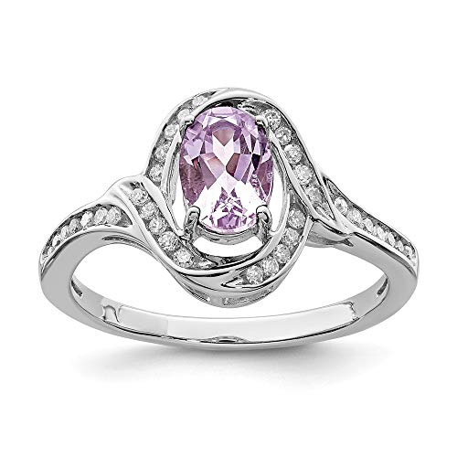 925 Sterling Silver Oval Pink Quartz Diamond Band Ring Size 7.00 Gemstone Fine Jewelry Gifts For Women For Her