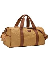 Large Canvas Travel Duffel Bag For Mens Womens Overnight Weekend Bag Khaki