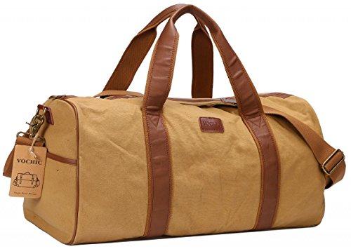 22'' Canvas Oversized Travel Duffel Bag Mens Womens Overnight Weekend Bag Khaki