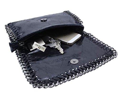 chaîne bandoulière pour Bleu FERETI à femme Pochette main sac cuir nfn4UTqzw