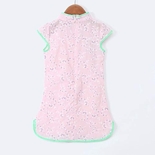 Hstore✿ Childrens Short Sleeve Chinese Style Flower Print Cheongsam Dress Toddler Baby Girls Kids Flowers Floral Party Princess Dresses