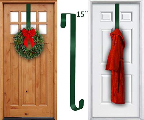 Green 15 Hunter Ring - TAIDOU Wreath Hanger for Over The Front Door 1Pcak - Outdoor Door Rust-Proof and Sunscreen Long Christmas Wreath Hook 15