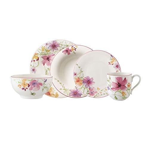 Villeroy & Boch Mariefleur Basic Juego De Mesa Para Dos, Porcelana Premium, Blanco/Multicolor