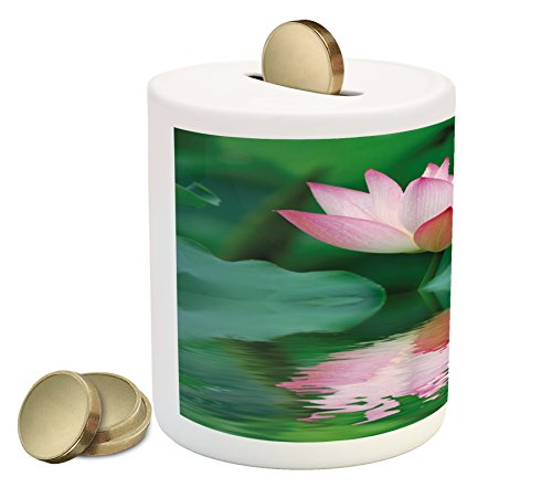 Lotus Piggy Bank by Lunarable, Lotus in Water with Reflections Purity Symbol Lifestyle Asian Picture, Printed Ceramic Coin Bank Money Box for Cash Saving, Forest Green Pale - Reflection Symbol For