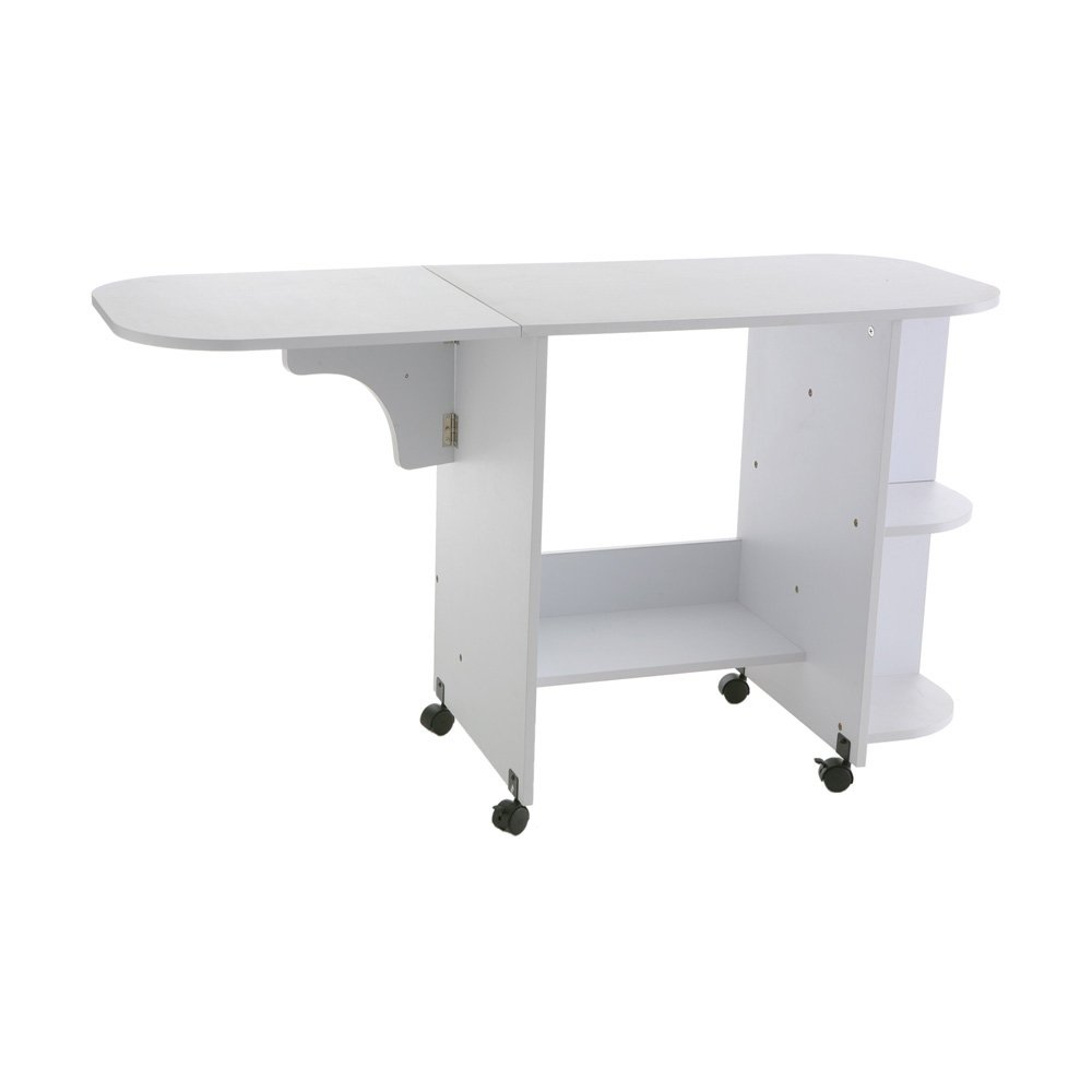 Southern Enterprises Eaton Rolling Craft Station Sewing Table 31.5'' Wide, White Finish by Southern Enterprises