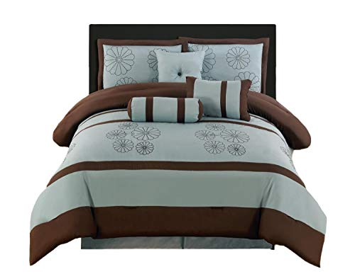 Brown And Blue Comforter - WPM King 7-Piece Embroidery Comforter Set, Aqua Blue / Brown