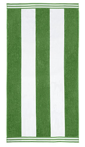 "Superior Luxurious 100% Cotton Beach Towels, Oversized 34"" x 64"", Soft Velour Cotton and Absorbent Cotton Terry, Thick and Plush Striped Beach Towels - Dark Green Cabana Stripes"