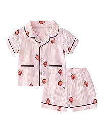 BINIDUCKLING Unisex Baby Sleepwear, Toddler Boy Girl 2 Piece Pajamas Set Kid Cotton Sleep Shirt and Shorts