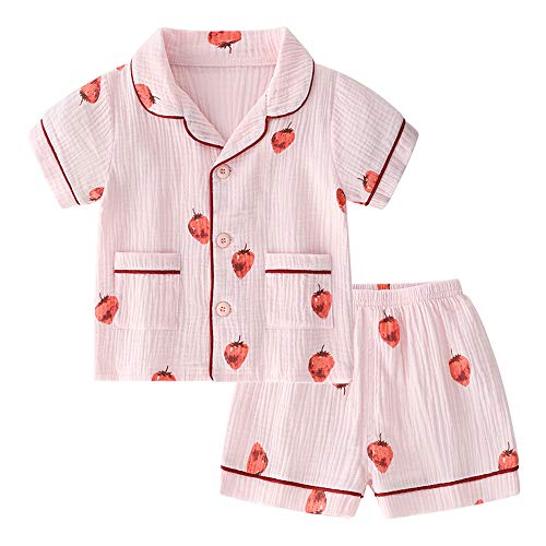 BINIDUCKLING Unisex Baby Sleepwear, Toddler Girl Button Up Pajamas Set Kid Cotton Pajama Top and Bottom Pink Strawberry 18M