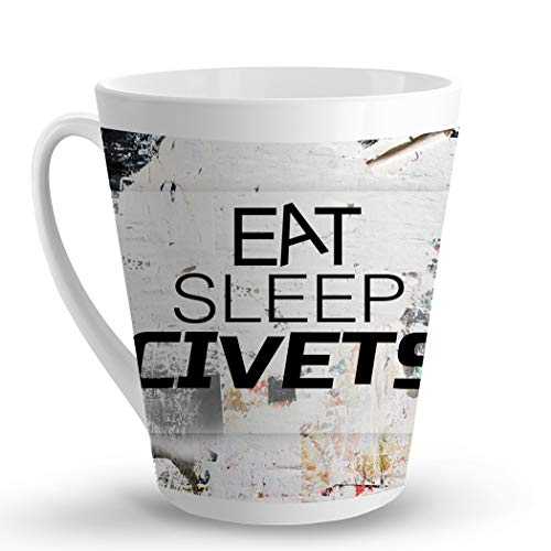 Makoroni - EAT SLEEP CIVETS Animal - 12 Oz. Unique LATTE MUG, Coffee Cup