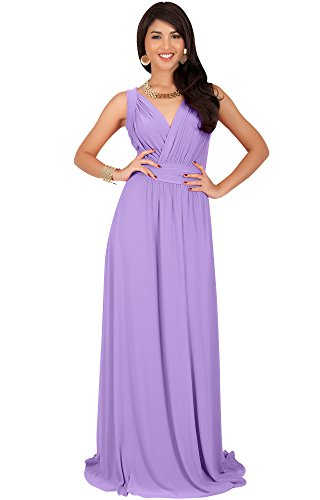 KOH KOH Petite Womens Long Sleeveless Flowy Bridesmaids Cocktail Party Evening Formal Sexy Summer Wedding Guest Ball Prom Gown Gowns Maxi Dress Dresses, Lilac Light Purple S 4-6 - Guest Wedding Purple Dress