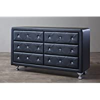 Baxton Studio Luminescence Wood Contemporary Upholstered Dresser, Black