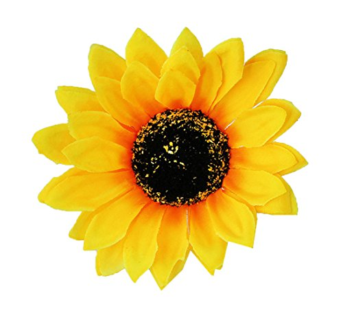 RoyaLily 3.9'' SunFlower Hair Clips and Pin Beach Party Brooch Bridal Barrettes (Yellow)